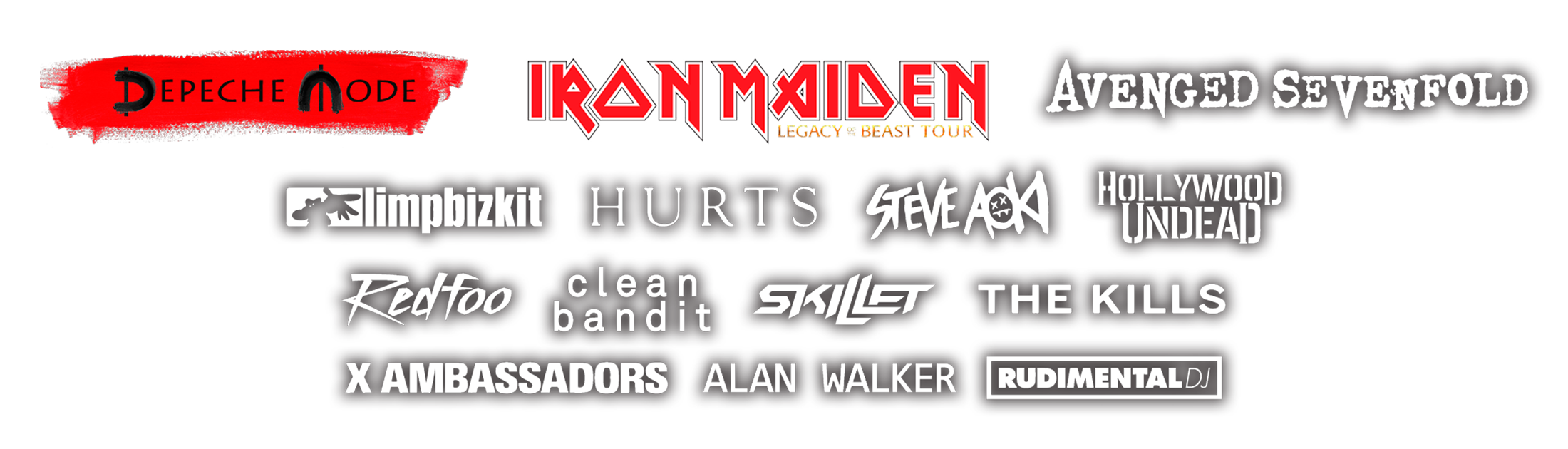 Depeche mode, Iron Maiden, Hurts, Hollywood Undead, Rudimental Live
